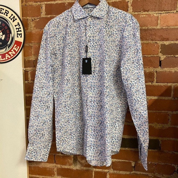 Bugatchi Classic Fit Shirt Mens S Embroidered Vintage Cars Pattern L//S NEW $179